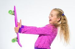 Kid long hair carry penny board. Plastic skateboards for everyday skater. Penny board of her dream. Best gifts for kids. Ultimate gift list help pick perfect royalty free stock photo