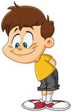 Kid looking down. Illustration of a smiling kid looking down Stock Image