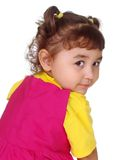 Kid looking over shoulder royalty free stock photo