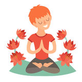 Kid in the lotus position on the mat for yoga. Isolated illustration on the white background Royalty Free Stock Photography