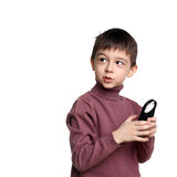 Kid and loupe Royalty Free Stock Photos
