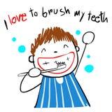 Kid love brush teeth  illustration Stock Photo