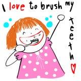 Kid love brush teeth  illustration Stock Images