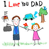 Kid love dad drawing picture  illustration Royalty Free Stock Image