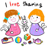 Kid love sharing toy to friend  illustration Royalty Free Stock Image