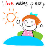 Kid love waking up early  illustration Royalty Free Stock Photos