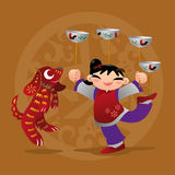Kid loves playing with Chinese zodiac animal - Dog Stock Images