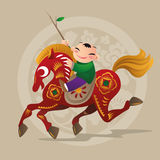 Kid loves playing with Chinese zodiac animal - Horse Royalty Free Stock Image