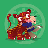 Kid loves playing with Chinese zodiac animal - Tiger. Cartoon illustration of a kid playing with Chinese zodiac animal Dog Royalty Free Stock Photo