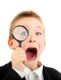 Kid with Magnifying Glass Stock Photos