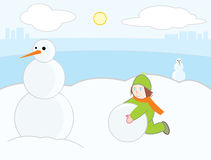 Kid make snowman Stock Photo