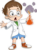 Kid makes science experiment Stock Images
