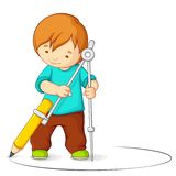 Kid making circle with Compass Royalty Free Stock Images