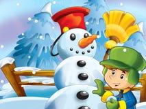 Kid making happy and big snowman Stock Image