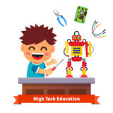 Kid is making his own robot. High tech hardware engineering and electronics education. Flat style vector illustration  on white background Royalty Free Stock Photos