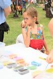 Kid making mandalas Royalty Free Stock Photo