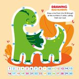 Kid Math Game Read Number in Order Funny Dragon. vector illustration