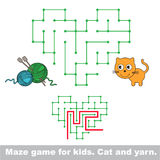 Kid maze game. Cat want to play with yarn. Stock Photos