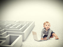 Kid and maze Stock Photo