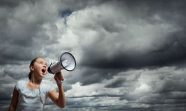 Kid with megaphone Stock Image