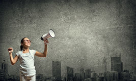 Kid with megaphone Royalty Free Stock Photos