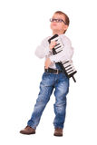 Kid with melodica on white Stock Photos