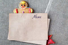 Kid menu decoration with gingerbread man Royalty Free Stock Photo