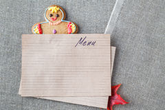 Kid menu decoration with gingerbread man Stock Images