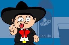 Kid mexican mariachi cartoon expressions background Stock Image