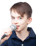 Kid with mic Royalty Free Stock Photography