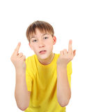 Kid with Middle Fingers Gesture Royalty Free Stock Image