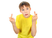 Kid with Middle Fingers Gesture Royalty Free Stock Photography