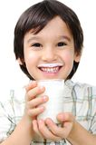 Kid with milk Stock Image