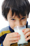 Kid with milk Stock Photo