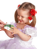 Kid and money isolated. Stock Images
