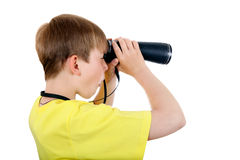 Kid with Monocle. Isolated on the White Background Royalty Free Stock Images