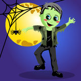 Kid monster halloween costume full moon Royalty Free Stock Image