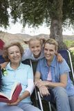 Kid With Mother And Grandmother On Camping Trip Royalty Free Stock Image
