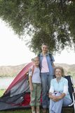 Kid With Mother And Grandmother On Camping Trip Royalty Free Stock Photography