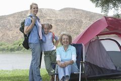 Kid With Mother And Grandmother On Camping Trip Royalty Free Stock Photos