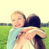 Kid and Mother outdoor Royalty Free Stock Photography