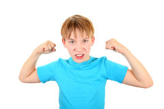 Kid Muscle Flexing Royalty Free Stock Photography