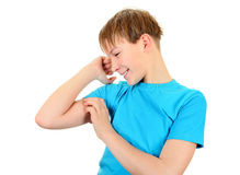 Kid Muscle flexing Stock Images