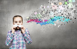 Kid with mustache Royalty Free Stock Photo