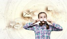 Kid with mustache Stock Photo
