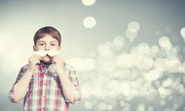 Kid with mustache Royalty Free Stock Images