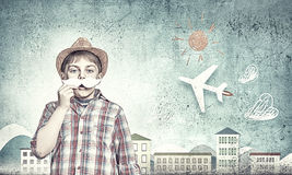 Kid with mustache Royalty Free Stock Photos