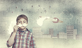 Kid with mustache Royalty Free Stock Image