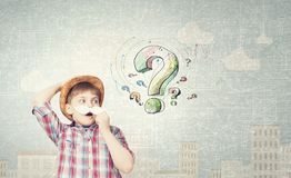 Kid with mustache Stock Images