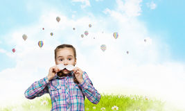Kid with mustache Stock Photography